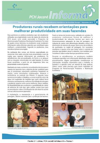 Reprodução de uma página do Informativo número 8 da PCH Jacaré